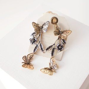 Anthropologie Butterfly Floral Statement Earrings